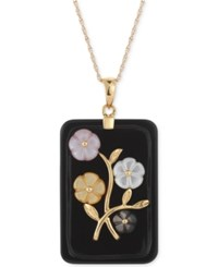 Macy's Jade Or Onyx Carved Flower Pendant Necklace 25X38mm In 14K Gold Plated Sterling Silver Black