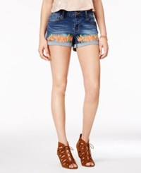 Rampage Juniors' Curvy Fit Embroidered Denim Shorts Lowa