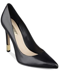 Guess Women's Babbitta Pointed Toe Pumps Women's Shoes Black Leather