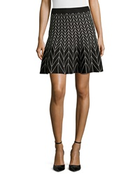 Max Studio Chevron Print Stretch Knit Circle Skirt Black Ivory