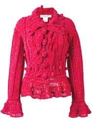 Christian Dior Vintage Chenille Bobble Cardigan Pink And Purple