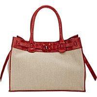 Zagliani Women's Crocodile Trim Gatsby Small Tote Tan