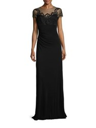 David Meister Lace Applique Illusion Gown Black