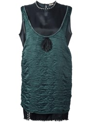 N 21 No21 Crystal Trim Crinkled Dress Green