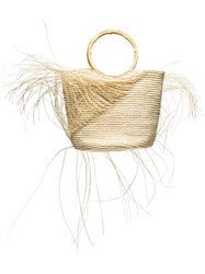 Sensi Studio Frayed Woven Tote Bag Neutrals