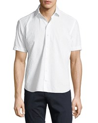 Culturata Luxury Barre Chenille Stripe Short Sleeve Shirt White