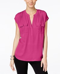 Inc International Concepts Dolman Sleeve Mixed Media Utility Shirt Only At Macy's Intense Pink