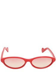 Moncler Logo Cat Eye Pantograph Sunglasses Red