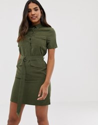 Boohoo Belted Utility Mini Shirt Dress With Pockets In Khaki Green