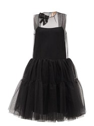 N 21 No. Sequinned Bow Tulle Panel Dress Black