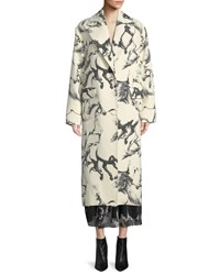 Adam By Adam Lippes Notched Lapel Button Front Abstract Horse Print Cocoon Wool Coat White Black
