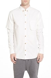 Men's Thing Thing 'Commando' Short Sleeve Woven Shirt With Long Sleeve Insets White