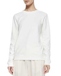 Vince Quilted Patch Knit Sweatshirt Winter White