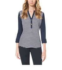Michael Kors Striped V Neck Top Navy