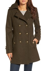 London Fog Women's Wool Blend Skirted Military Coat Olive