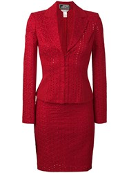 Versace Vintage Two Piece Skirt Suit Red