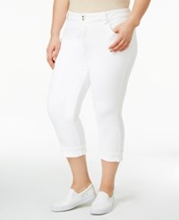 Lucky Brand Trendy Plus Size Emma White Wash Cropped Jeans Clean White