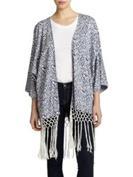 Tart Holly Fringe Cardigan Blue Ikat