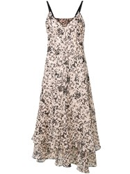 Cedric Charlier Printed Midi Dress Nude And Neutrals