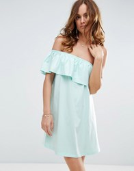 Asos One Shoulder Dress With Frill Mint Green