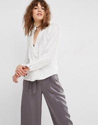 Asos All Over Sequin Pyjama Blouse Cream Pink