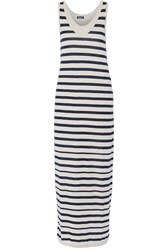 Splendid Striped Cotton Jersey Maxi Dress Gray
