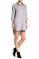 Allen Allen Linen Shirt Dress Petite Gray