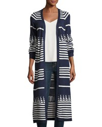 Lulumari Open Front Striped Long Cardigan Blue White