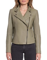 Bagatelle.City The Moto Naked Lamb Quilted Moto Jacket Green Tea