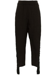 By Walid Sally Embellished Leg Linen Trousers Black
