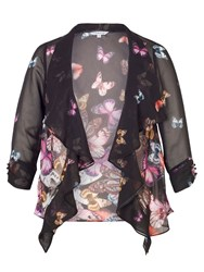 Chesca Butterfly Print Border Shrug Black