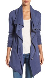 Caslonr Women's Caslon Asymmetrical Drape Collar Terry Jacket Heather Navy Peacoat