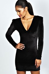 Boohoo Velvet Plunge Neck Bodycon Dress Black