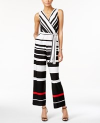 Ny Collection Petite Striped Surplice Belted Jumpsuit Red Distance