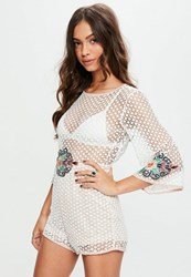 Missguided White Dotty Mesh Floral Detail Playsuit