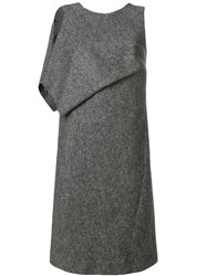Maison Martin Margiela Draped Panel Shift Dress Viscose Wool Grey