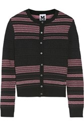 M Missoni Glittered Tulle Trimmed Open And Stretch Knit Cardigan Black