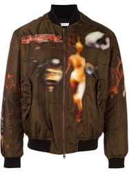 Givenchy Freedom Print Paneled Bomber Jacket Green