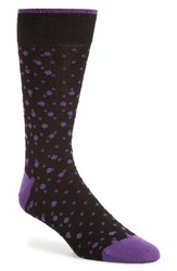Bugatchi Men's Polka Dot Socks Grape Black