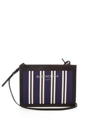 Balenciaga Navy Cabas Mini Cotton Canvas Cross Body Bag Navy Stripe