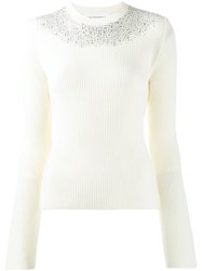 Ermanno Scervino Embellished Knitted Sweater White