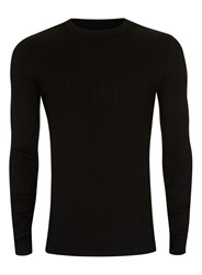 Topman Black Ribbed Muscle Fit Jumper