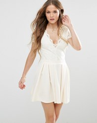 Mela Loves London Skater Dress With Lace Body And Scuba Skirt Cream