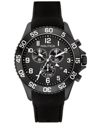Nautica Men's Chronograph Black Silicone Strap Watch 44Mm Nad17506g No Color