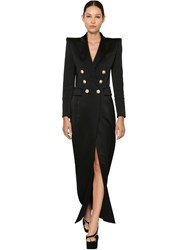 Balmain Buttoned Satin Jacket Dress Black