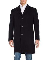 Calvin Klein Single Breasted Wool Blend Peacoat Black