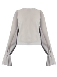 Osman Petra Round Neck Long Sleeved Wool Crepe Top Dove