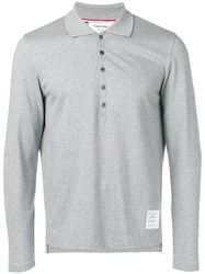 Thom Browne Long Sleeve Jersey Polo Grey