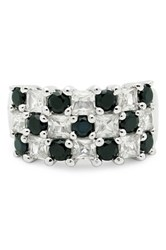 Olivia Leone Platinum Plated Sterling Silver Genuine Black Spinel And White Zircon Ring