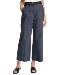 Elizabeth And James Hudson Cropped Wide Leg Trousers Indigo